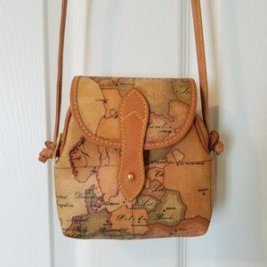 Alveiro Martini 1a CLASSE geo map leather purse
